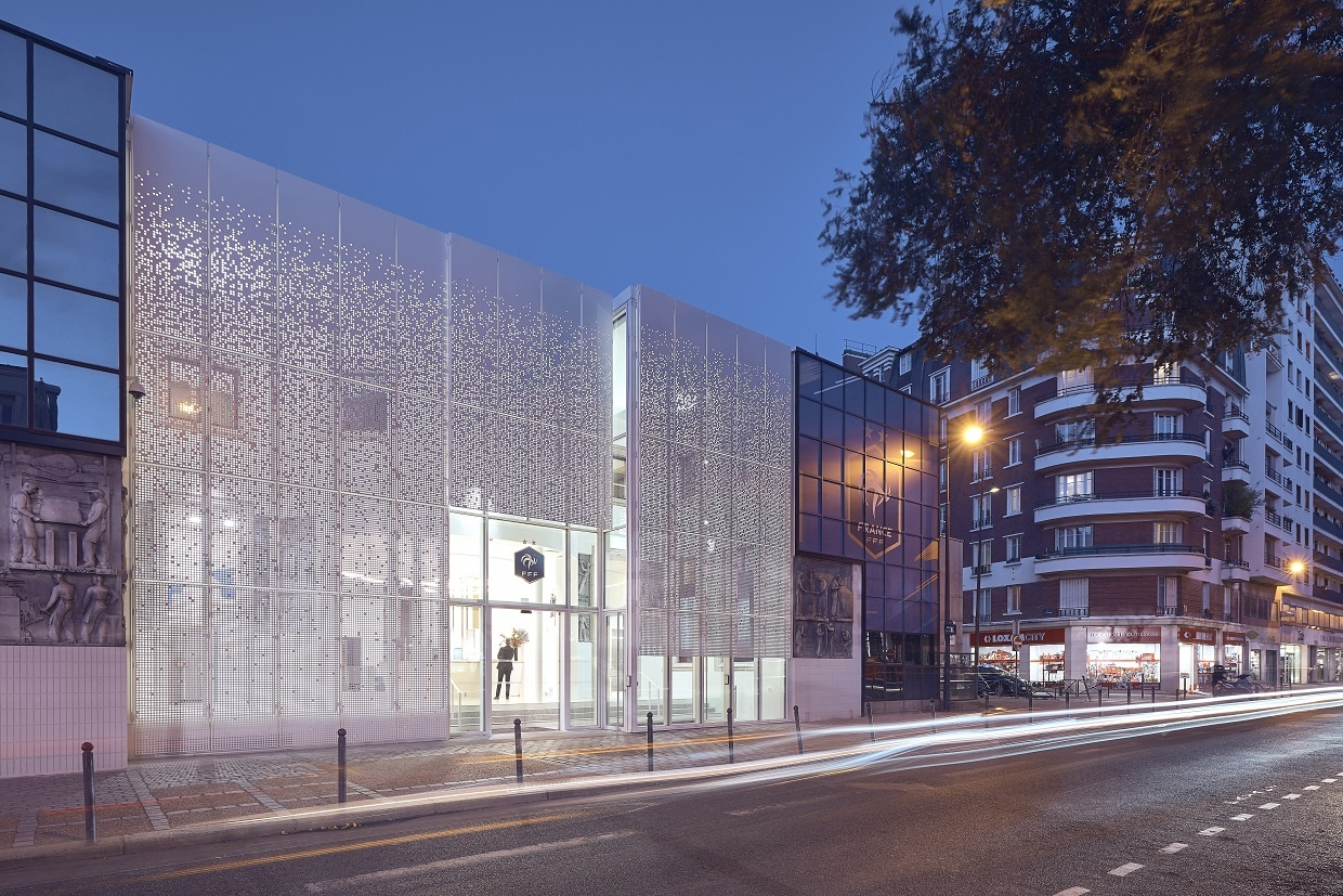 Facade of the French Football Federation headquarters in Paris (Reid Brewin Architects)